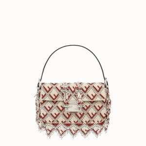 Fendi White/Red Embroidered Baguette Bag