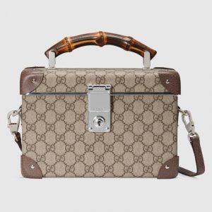 Gucci Beige/Ebony GG Supreme Globe-Trotter Beauty Case Bag