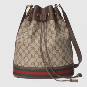 Gucci Beige/Ebony GG Supreme Ophidia Bucket Bag