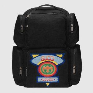 Gucci Black Nylon 80s Large Backpack Bag