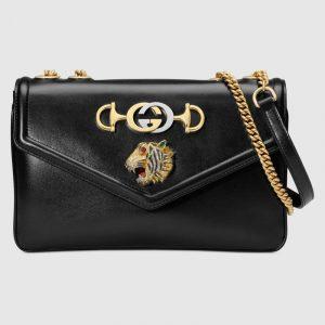 Gucci Black Tiger Head Medium Shoulder Bag
