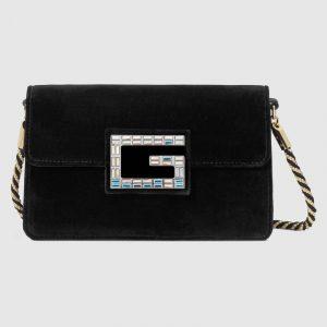 Gucci Black Velvet Square G Shoulder Bag