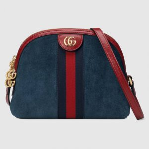 Gucci Blue Suede Ophidia Small Dome Shoulder Bag