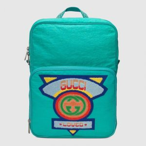 Gucci Bright Blue Nylon 80s Medium Backpack Bag