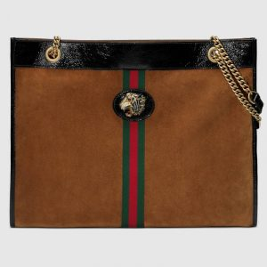 Gucci Brown Suede Tiger Head Large Tote Bag