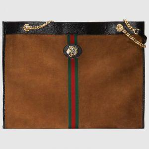 Gucci Brown Suede Tiger Head Maxi Tote Bag