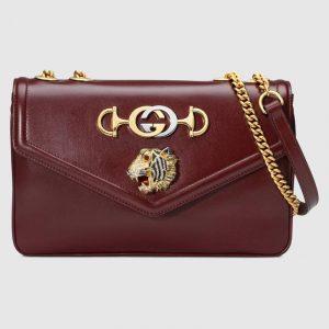 Gucci Burgundy Tiger Head Medium Shoulder Bag