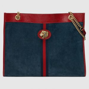 Gucci Dark Blue Suede Tiger Head Large Tote Bag