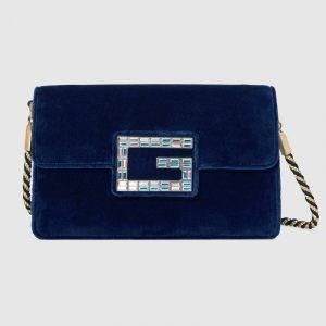 Gucci Dark Blue Velvet Square G Shoulder Bag