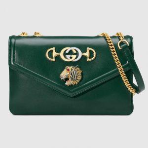 Gucci Dark Green Tiger Head Medium Shoulder Bag