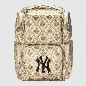 Gucci Floral Tapestry Satin NY Yankees Large Backpack Bag