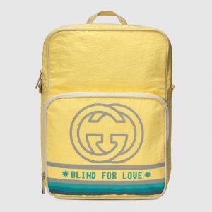 Gucci Light Yellow Nylon Interlocking G Medium Backpack Bag