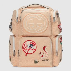 Gucci Nude Moiré Fabric NY Yankees Large Backpack Bag