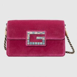 Gucci Pink Velvet Square G Shoulder Bag