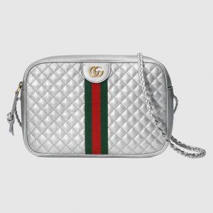 Gucci Silver Laminated Small Shoulder Bag