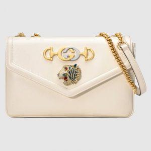 Gucci White Tiger Head Medium Shoulder Bag
