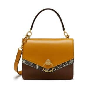 Mulberry Cedar Brown/Deep Amber/Natural Silky Calf & Python Harlow Satchel Bag