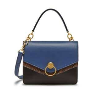 Mulberry Chocolate Brown/Pale Navy/Liquorice Silky Calf & Python Harlow Satchel Bag