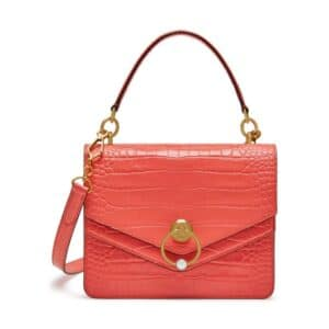 Mulberry Dusty Coral Croc Print Harlow Satchel Bag