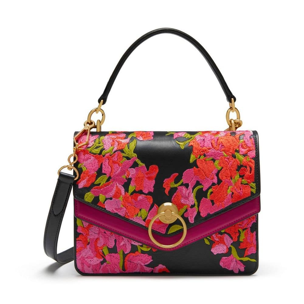 d9ab0c8c3964 Mulberry Midnight Embroidered Smooth Calf Harlow Satchel Bag