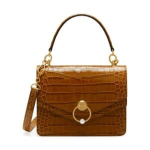 Mulberry Tobacco Brown Croc Print Harlow Satchel Bag