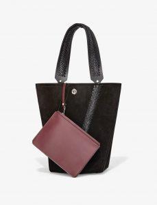 Proenza Schouler Black Crochet Medium Hex Bucket Bag