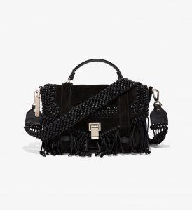 Proenza Schouler Black Crochet PS1+ Medium Bag