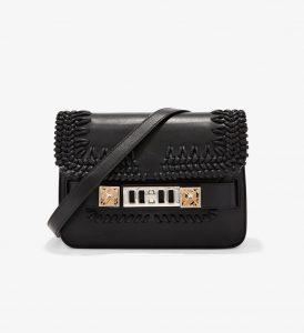 Proenza Schouler Black Crochet PS11 Mini Classic Bag