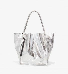 Proenza Schouler Silver Metallic L Tote Bag