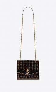Saint Laurent Black Suede All Over Studs Sulpice Medium Bag
