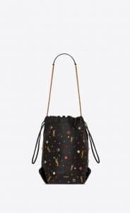 Saint Laurent Black/Gold Leather and Cabochons Teddy Bucket Bag