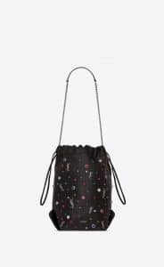 Saint Laurent Black/Silver Leather and Cabochons Teddy Bucket Bag