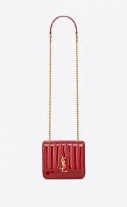 Saint Laurent Red Patent Matelassé Vicky Small Chain Bag