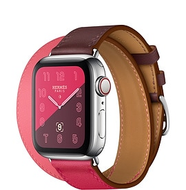 Apple Watch Hermès Series 4 Bordeaux:Rose Extrême:Rose Azalée Swift Leather Double Tour