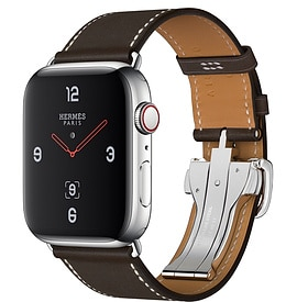 Apple Watch Hermès Series 4 Ebene Barenia Leather Single Tour Deployment Buckle