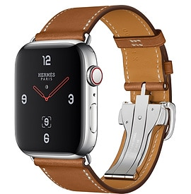 Apple Watch Hermès Series 4 Fauve Barenia Leather Single Tour Deployment Buckle