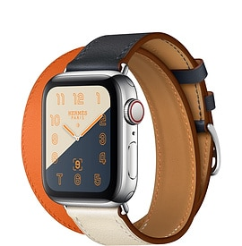 Apple Watch Hermès Series 4 Indigo:Craie:Orange Swift Leather Double Tour