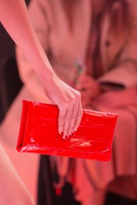 Balenciaga Red Patent Monogram Embossed Clutch Bag - Spring 2019