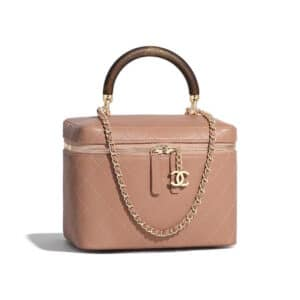 Chanel Beige Knock On Wood Vanity Case Bag