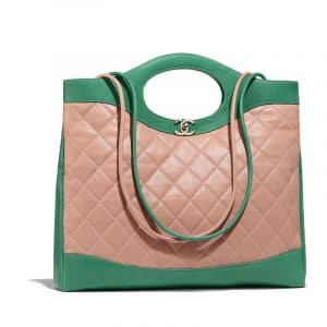 Chanel Beige/Green Lambskin Chanel 31 Medium Shopping Bag