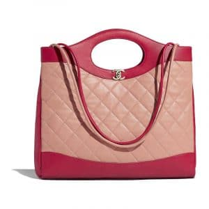 Chanel Beige/Red Lambskin Chanel 31 Medium Shopping Bag