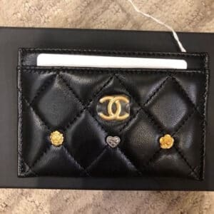 Chanel Black 18K Charms Card Holder