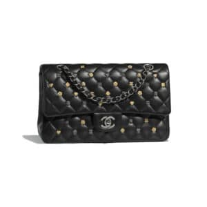 Chanel Black 18K Charms Classic Flap Medium Bag