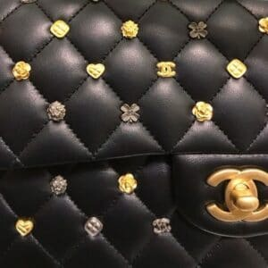 Chanel Black 18K Charms Medium Classic Flap Bag 2