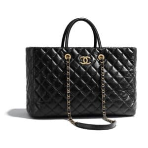 Chanel Black Aged Calfskin Coco Allure Large Shopping Bag