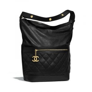 Chanel Black Calfskin Casual Style Small Hobo Bag