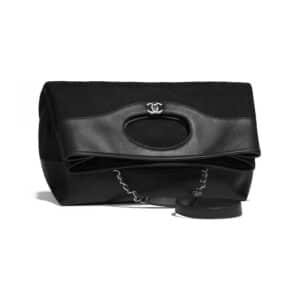 Chanel Black Calfskin:Wool Chanel 31 Large Shopping Bag