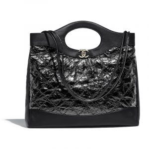 Chanel Black Crumpled Calfskin Chanel 31 Medium Shopping Bag