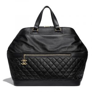 Chanel Black Grained Calfskin Bowling Bag