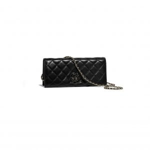 Chanel Black Lambskin Camellia Clutch Bag